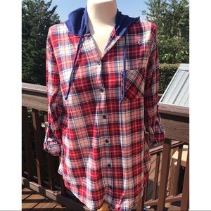 No Boundaries Plaid Button Down Hooded Pullover